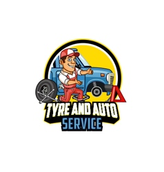 Tyre and auto service logo graphic vector