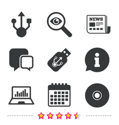 usb flash drive icons notebook or laptop pc vector image vector image