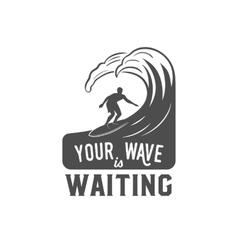 Vintage surfing label badge and emblem vector