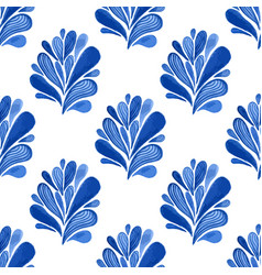 Watercolor blue floral seamless pattern with vector