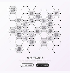 Web traffic concept in honeycombs vector