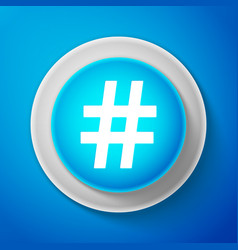 white hashtag icon isolated social media symbol vector image