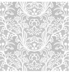 White vintage lace seamless pattern with flowers vector