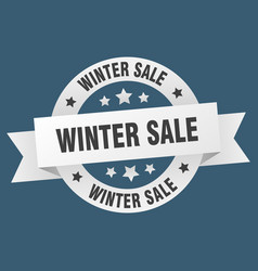 winter sale ribbon winter sale round white sign vector image