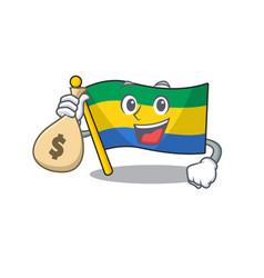With money bag flag gabon with cartoon shape vector