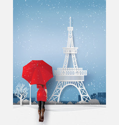 Woman wearing a red coat holds an umbrella vector