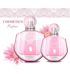 Women perfume bottle with delicate flowers vector