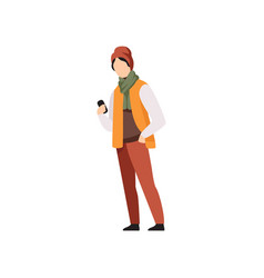 young man standing with mobile phone in autumn vector image