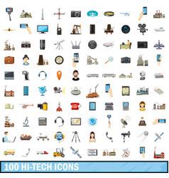 100 hi-tech icons set cartoon style vector image vector image