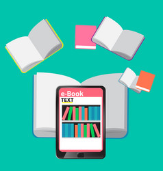 Concept e-books world library tablet education vector
