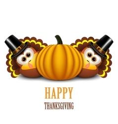 Thanksgiving turkeys with pilgrim hat and pumpkin vector image