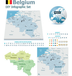 Belgium maps with markers vector image vector image