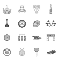 Car racing icons set black monochrome style vector image