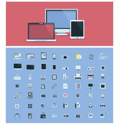 Computer hardware icon set vector image vector image