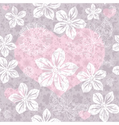 Gentle gray seamless valentine pattern vector image vector image
