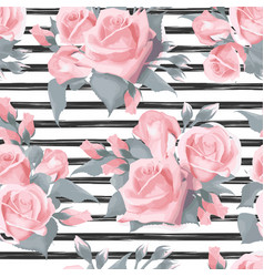 navy striped print with bouquets of rose flowers vector image vector image