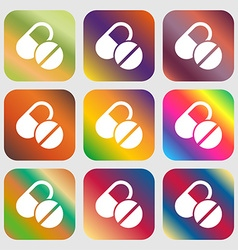 Medical pill icon sign nine buttons with bright vector