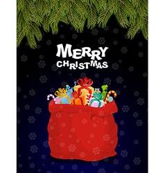 Merry Christmas Bag full of gifts Christmas night vector image vector image