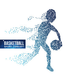 basketball player silhouette halftone vector image