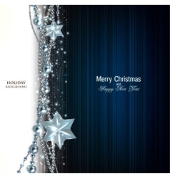 Elegant christmas background with blue garland and vector image vector image