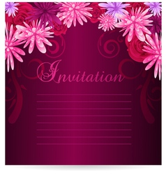 Invitation template with abstract flowers vector image vector image
