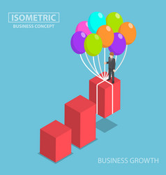 isometric businessman grow up graph by balloon vector image vector image