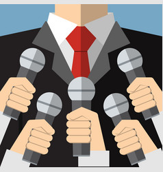 press conference with media microphones vector image