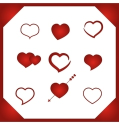 Set heart vector image vector image