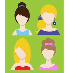 Set of female avatar or pictogram for social vector image vector image