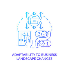 Adaptability to business landscape change blue vector