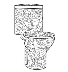 Adult antistress coloring flush toilet pattern vector