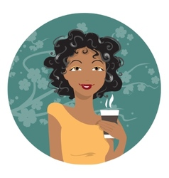 African American woman drinking coffee vector