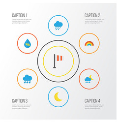 Air flat icons set collection of banner rain vector