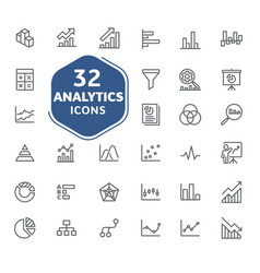 analytic icons collection vector image