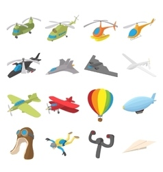 Aviation Icon Set cartoon style vector image
