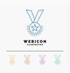 award honor medal rank reputation ribbon 5 color vector image