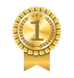 Award ribbon gold icon number first design winner vector