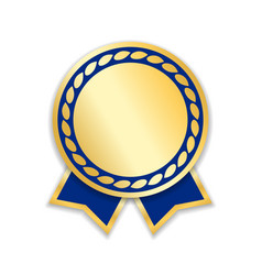 Award ribbon isolated gold blue design medal vector