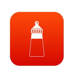 baby milk bottle icon digital red vector image