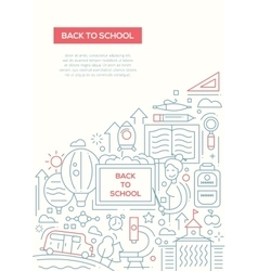Back to School - line design brochure poster vector image