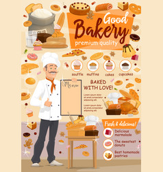 Bakery food baker and pastry products vector