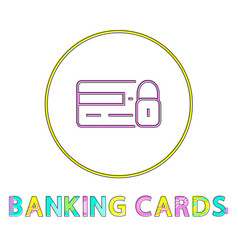 banking cards round framed color line design icon vector image