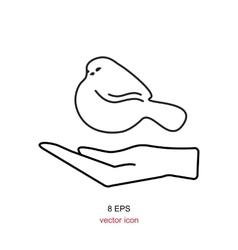 Bird in hand icon vector