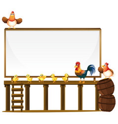 Board template with chickens and barrels vector
