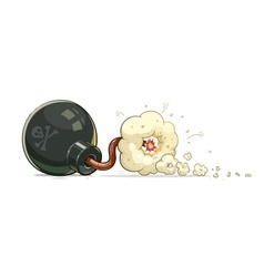 Bomb with burn fuse vector