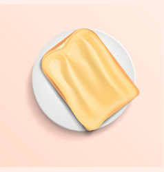Butter bread on plate concept background vector