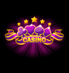 casino banner with playing cards symbols vector image