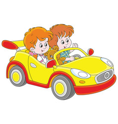 Children playing in a toy sports car vector