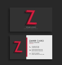 Clean dark business card with letter Z vector