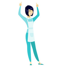 cleaner standing with raised arms up vector image